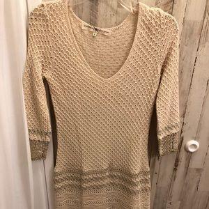 Nordstrom Rachel Ray cream lined sweater dress M